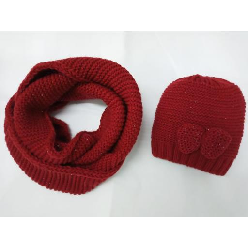 Conjunto de gorro y cuello tubular Rojo de Jóse Luis Navarro
