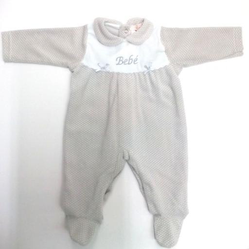 Pijama de bebé en gris motas de Popys