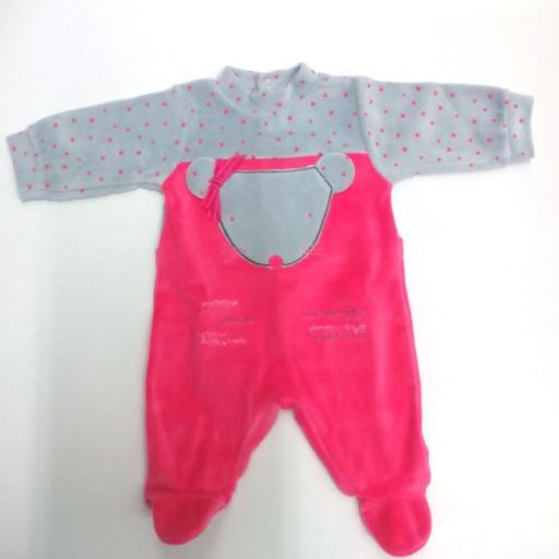 Pijama de bebé rosa con gris Ratita de Piruleta .