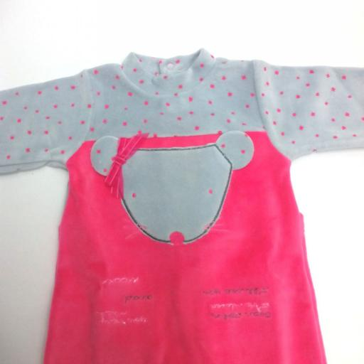 Pijama de bebé rosa con gris Ratita de Piruleta . [1]
