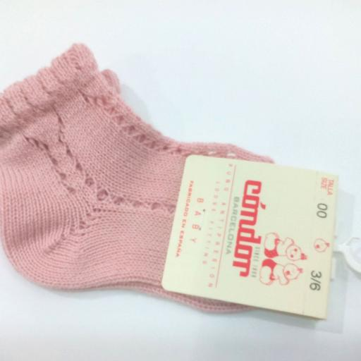 Calcetines cortos calados perlé rosa palo de Cóndor. [0]