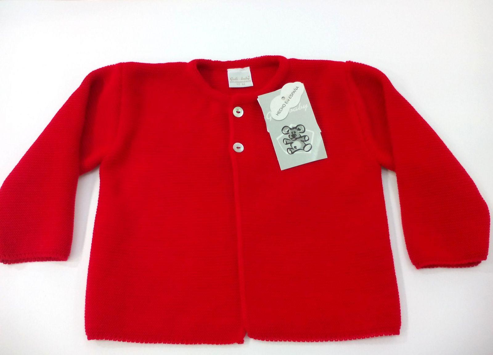 Chaqueta de niño perlé en rojo .