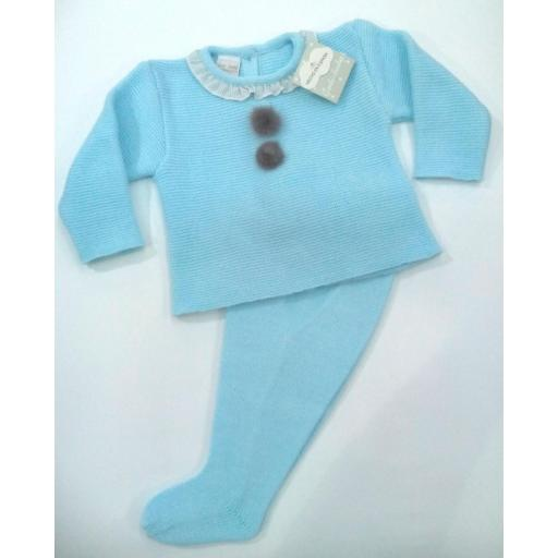 Conjunto de bebé canastilla en azul con Pompóm