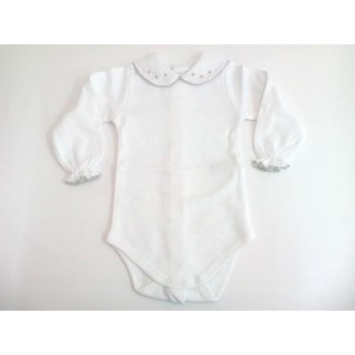 Body de bebé con cuellos en gris de manga larga. [0]