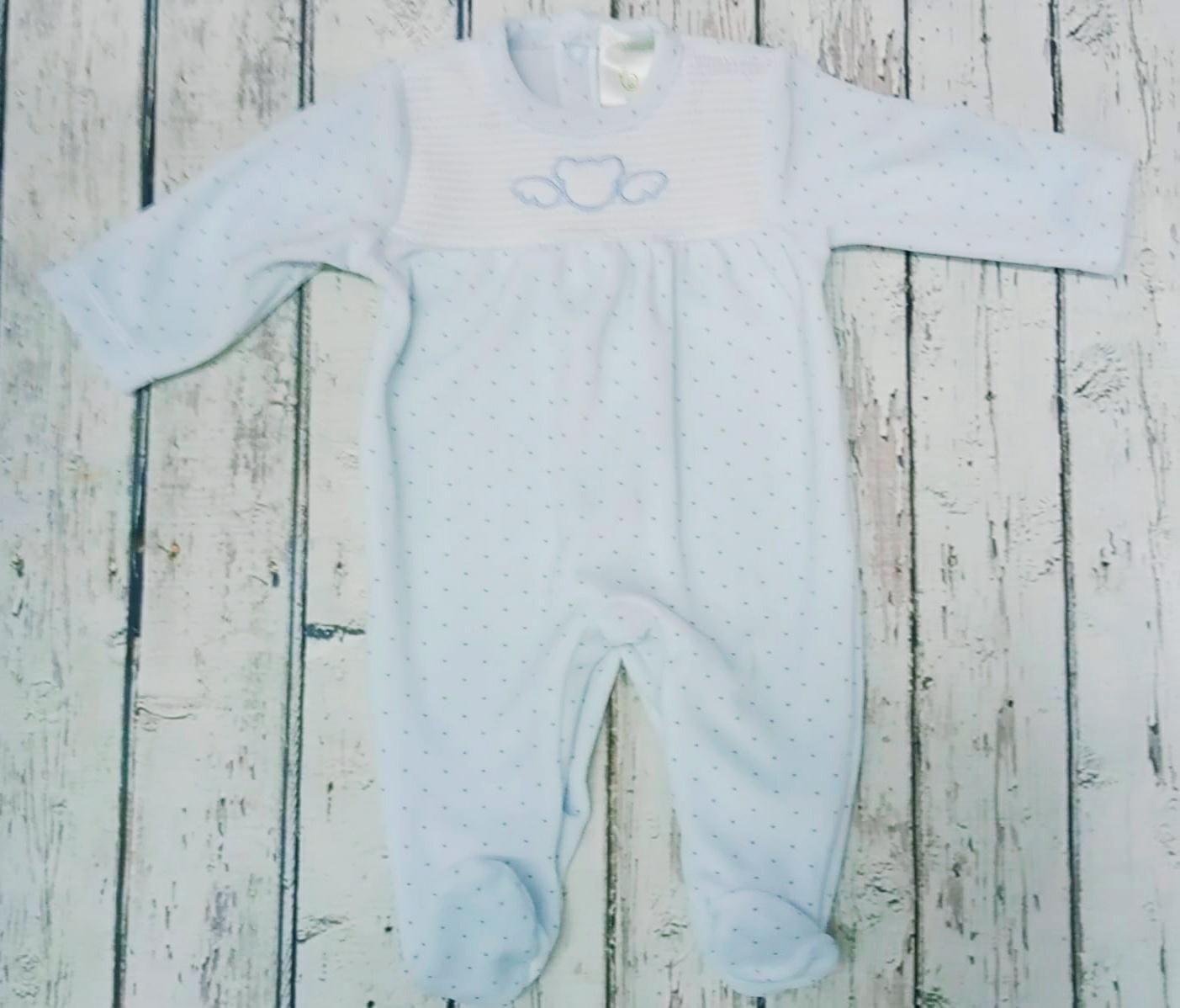 Pijama de bebè  azul con motas de Deolinda.