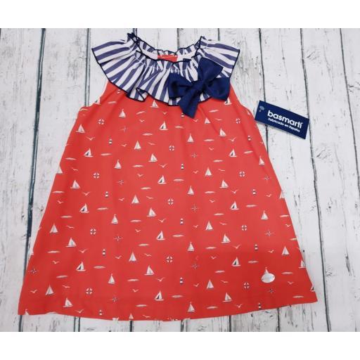 """Vestido de niña rojo """" Barcos"""" de Basmarti."""