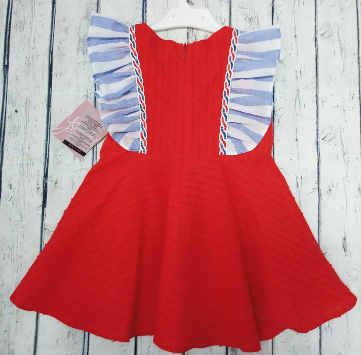 Vestido  de niña rojo familia Camelia de Yoedu.
