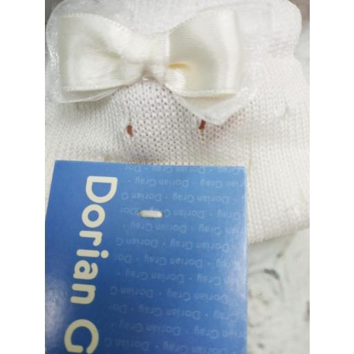 """Calcetín de niña de perlé en Marfil """"Lazo"""" de Dorian Gray [1]"""
