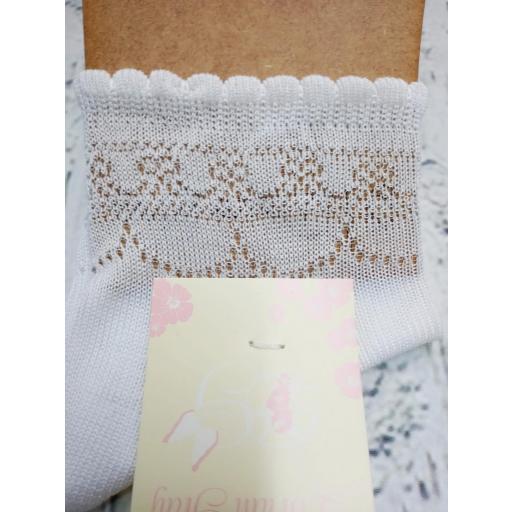 Calcetín de niña de hilo en blanco  de Dorian Gray [0]