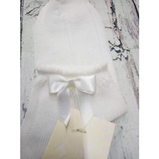 """Calcetín de niña de hilo en blanco """" lazo """" de Dorian Gray [1]"""