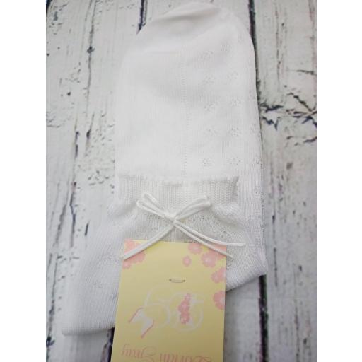 """Calcetín de niña de hilo en blanco """" lazo cordon """" de Dorian Gray [1]"""