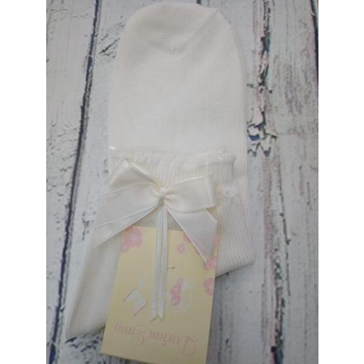 """Calcetín de niña de hilo en marfil """" lazo """" de Dorian Gray [1]"""