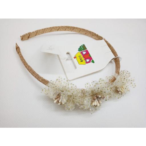 Diadema de Niña para ceremonia en dorada de Inca Hair.