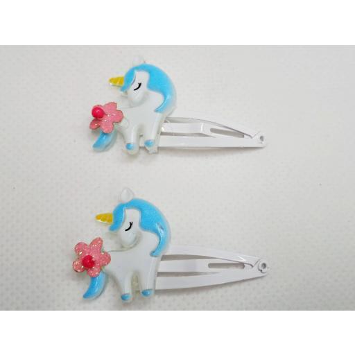 Pack 2 Clip de niña Unicornio Azul de Inca Hair.