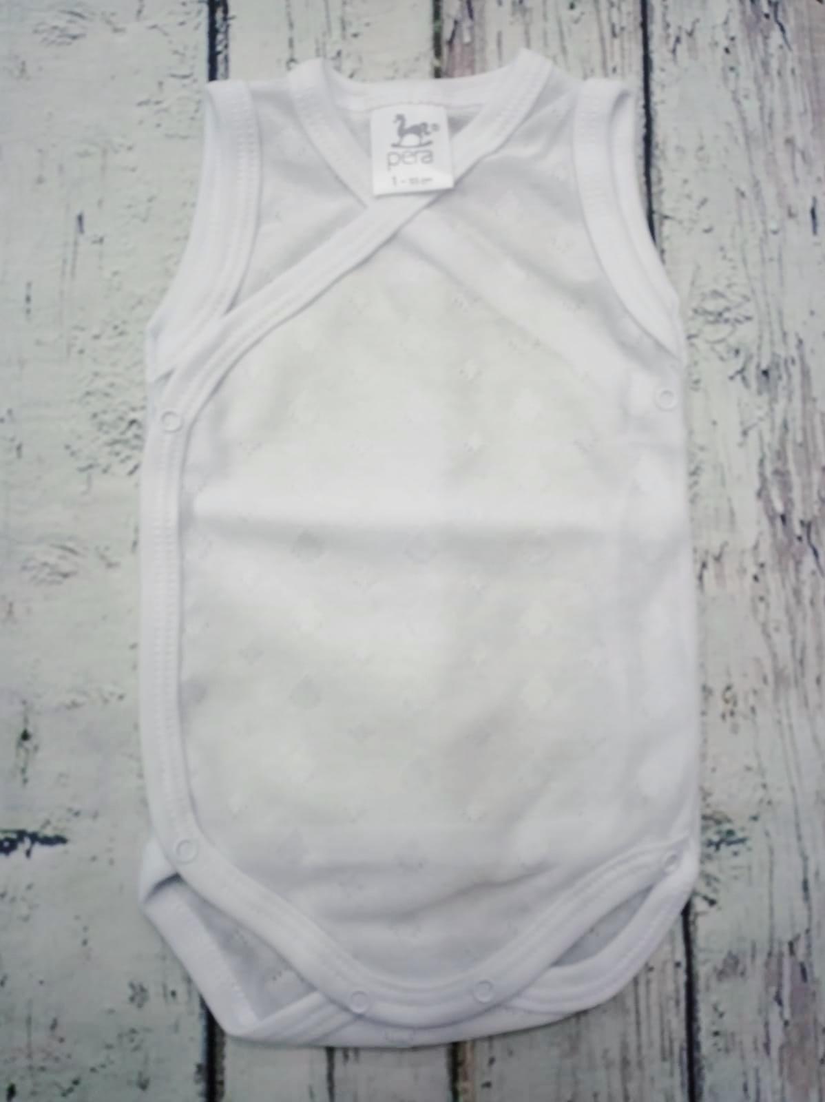 """Body bebé de tirantes blanco abierto 100% Algodón """" Circulos"""" de Pera."""