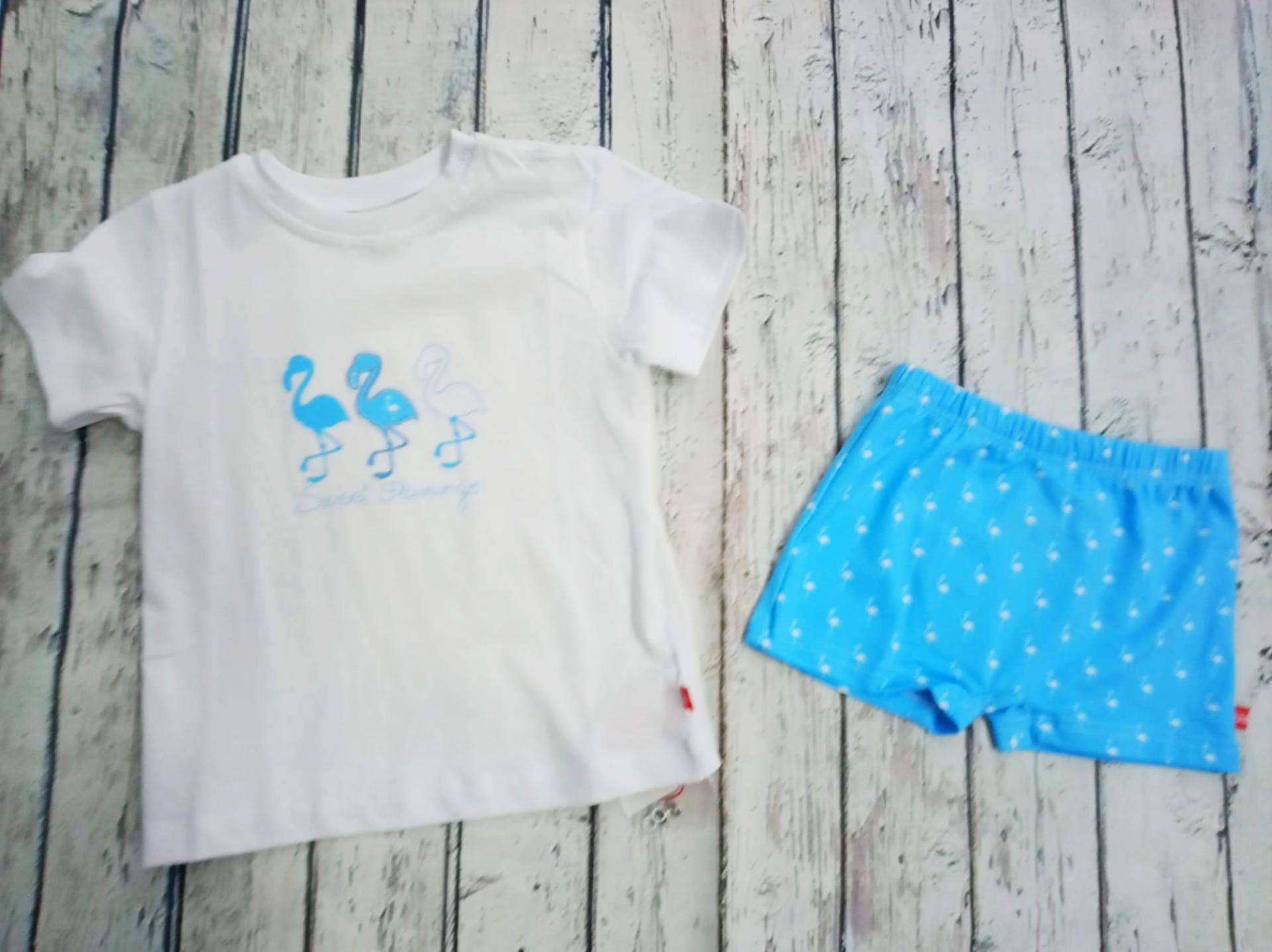 """Conjunto de niño de camiseta con bañador """" Flamingos """" de Condor."""