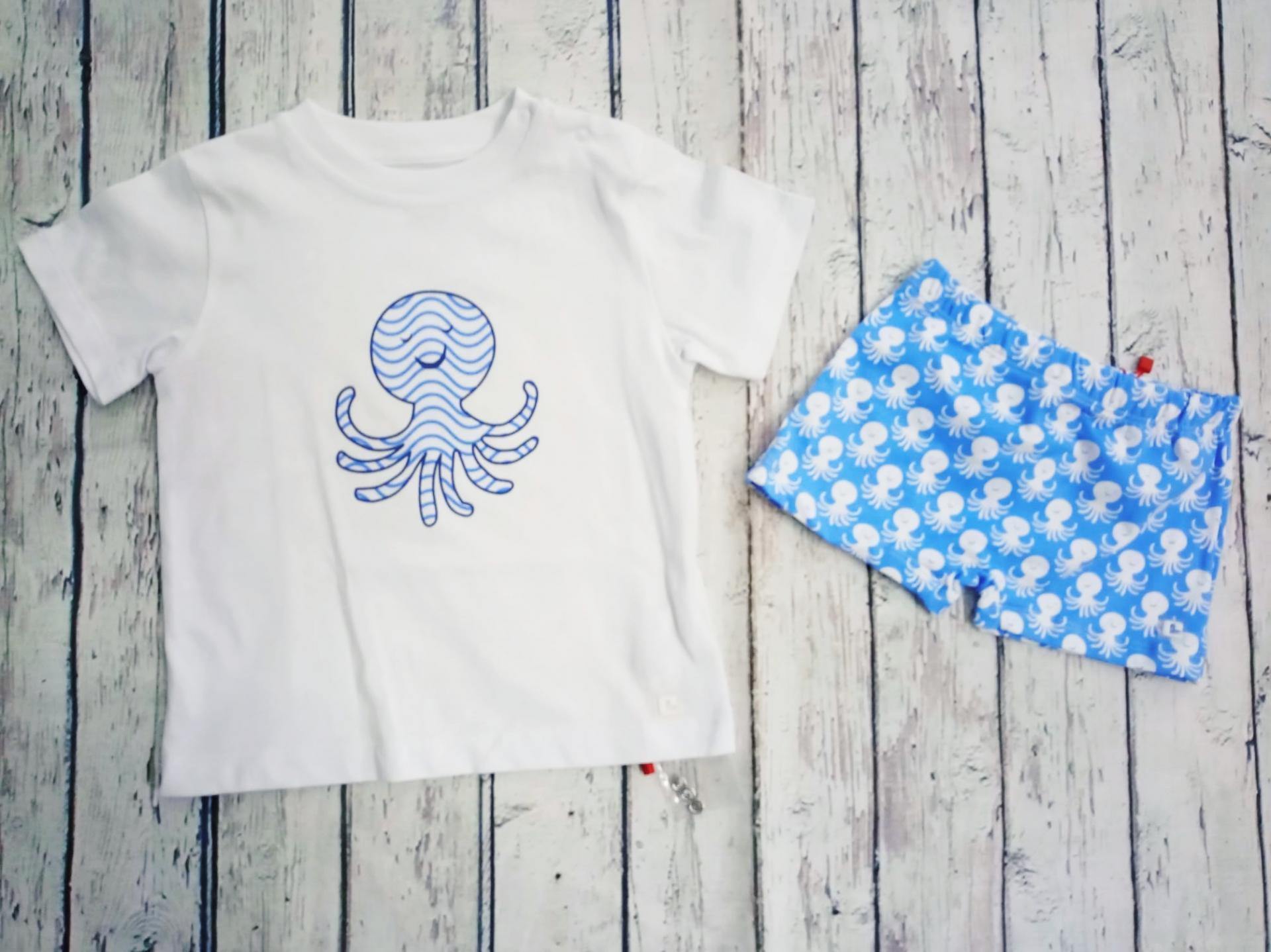 Conjunto de Camiseta con bañador de niño Pulpos de Cóndor.