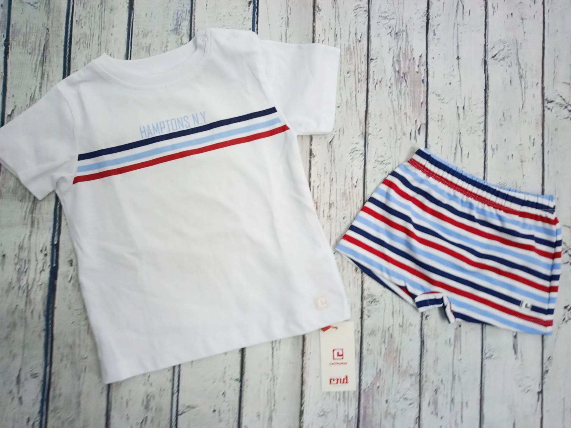 Conjunto de Camiseta con bañador de niño Rayas de Condor.