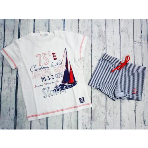 Conjunto de Camiseta con bañador de niño Rayas de Inca.
