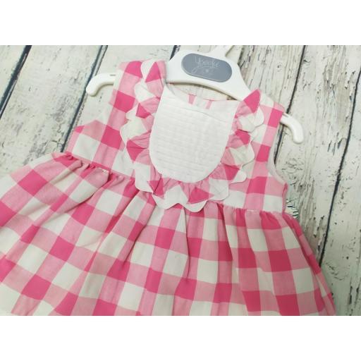 Vestido de niña cuadros en rosas . [1]