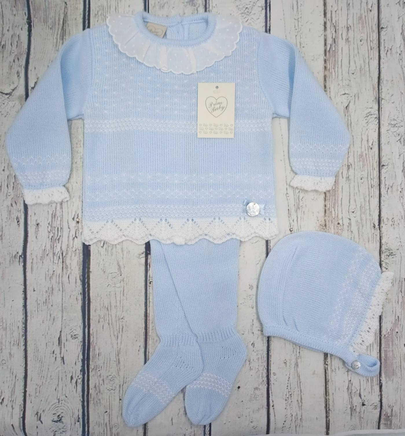"""Jersey con polaina de bebé """" Motas"""" en azul y capota  de Prim baby."""