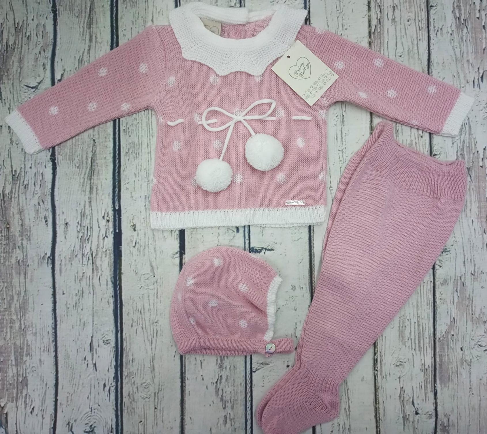 "Jersey con polaina de bebé "" POM POM "" en  rosa empolvado  y capota  de Prim Baby."