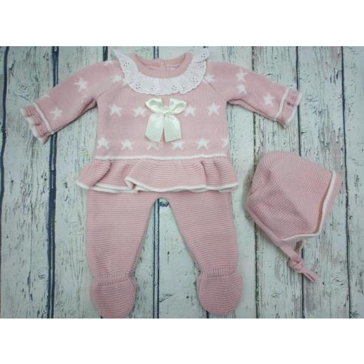 """Jersey con polaina de bebé """" Estrellas"""" en rosa empolvado y capota  de Tony Bambino."""