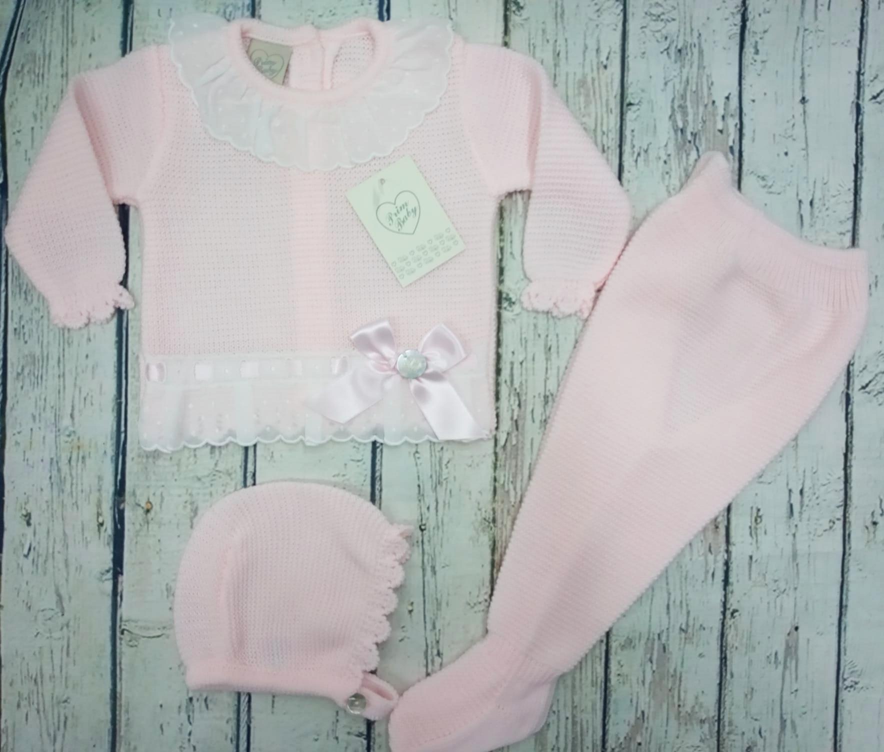 """Jersey con polaina de bebé """" Puntillas"""" en rosa y capota  de Prim Baby."""