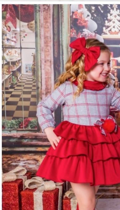 Vestido de niña en rojo y gris de Babiné.