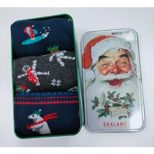 Caja musical  con 3 calcetines de Chico de Navidad.