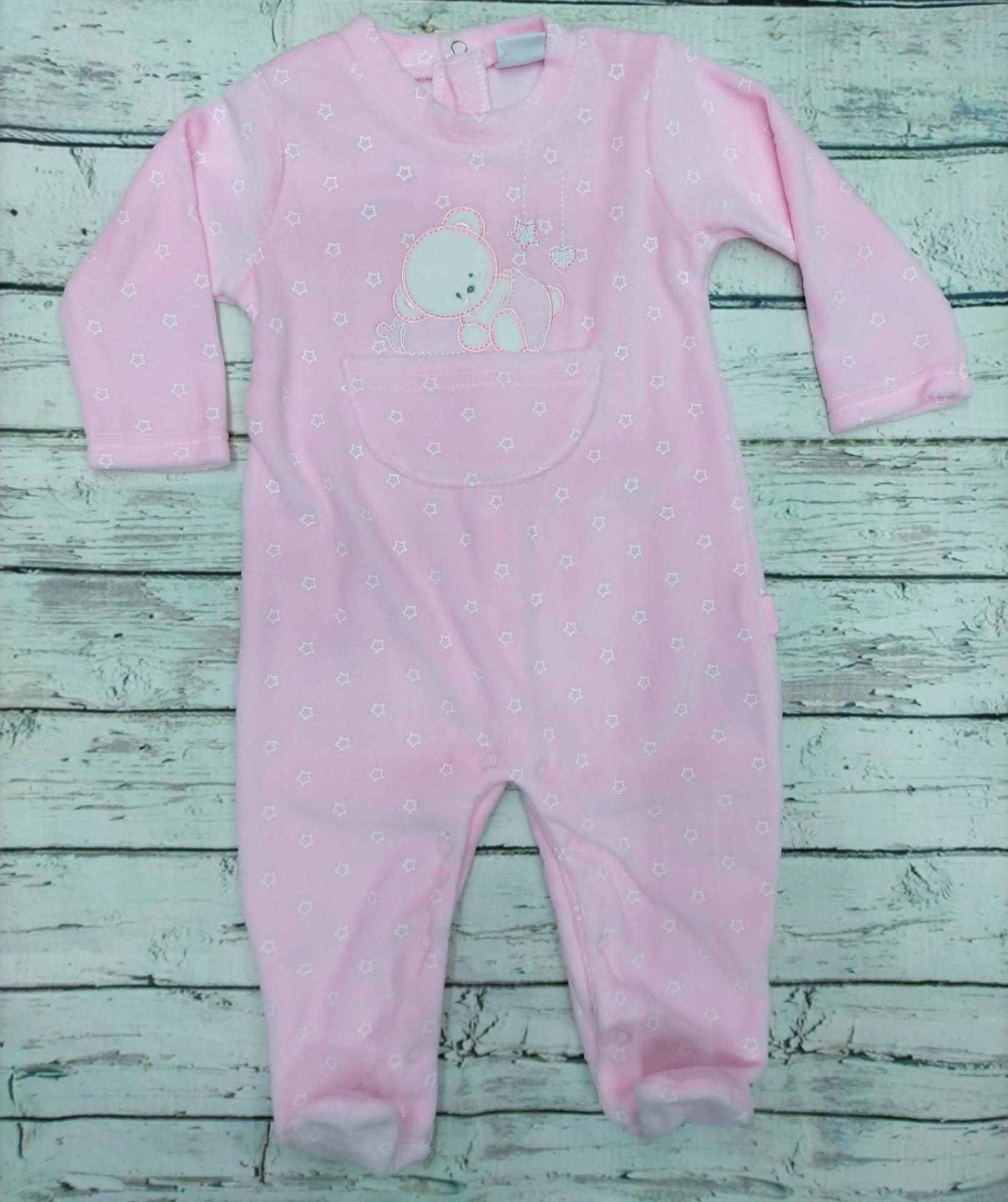 Pijama bebé rosa Oso con estrellas de Yatsi.