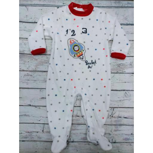 Pijama bebé niño blanco cohete de Yatsi.
