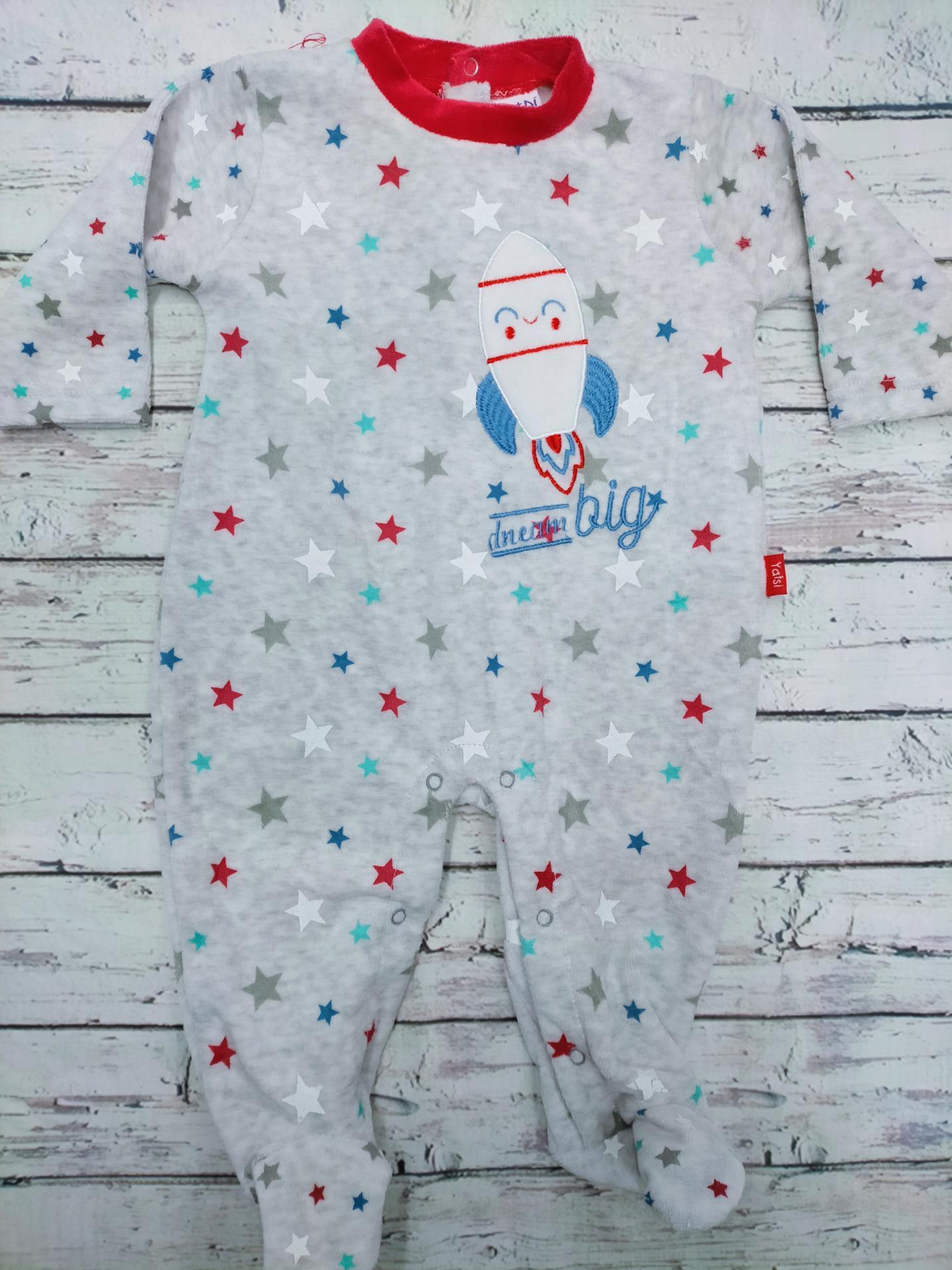 Pijama bebé gris con  cohete de Yatsi.