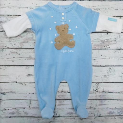 Pijama bebé azul con oso pelo de Lullaby.
