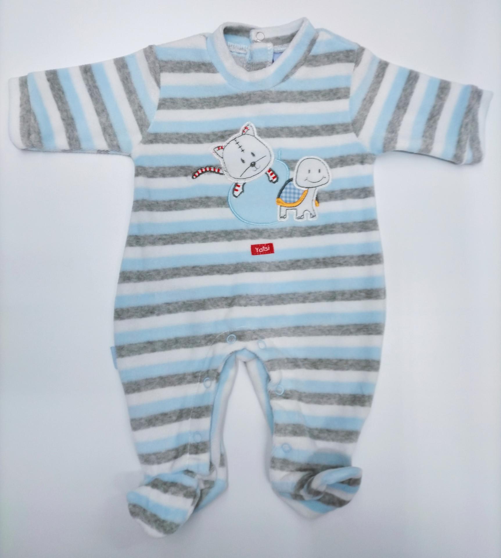 Pijama bebé rayas azul y gris de Yatsi.