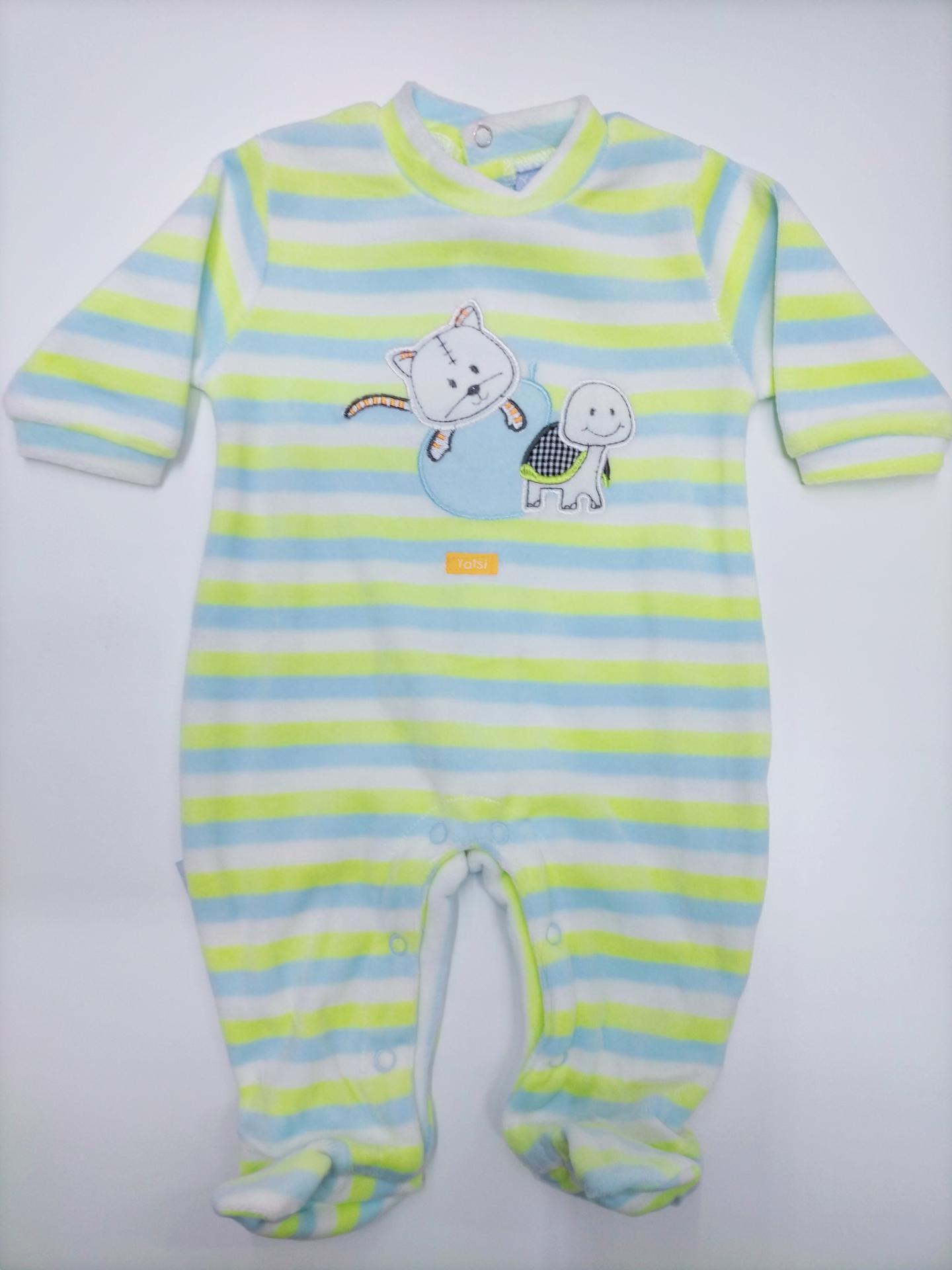 Pijama bebé rayas verde lima de Yatsi.