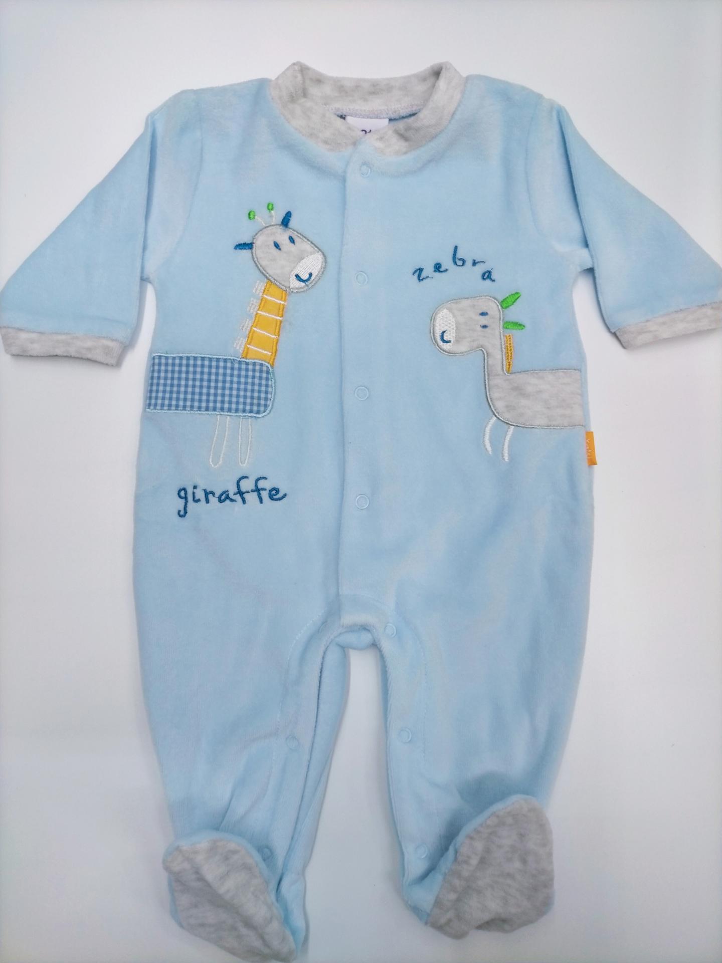 Pijama bebé Abierto Azul Jirafa de Yatsi.