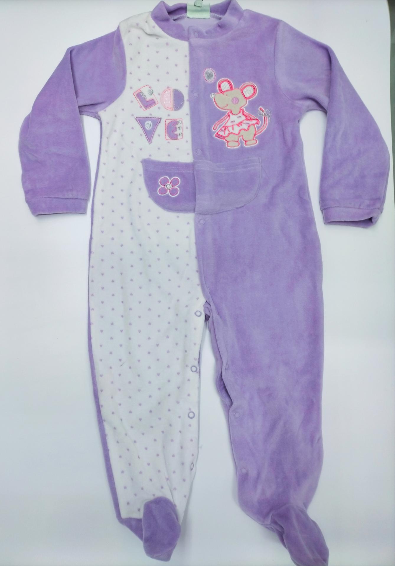 """Pijama bebé  abierto en lila """" Ratita """"de Yatsi."""