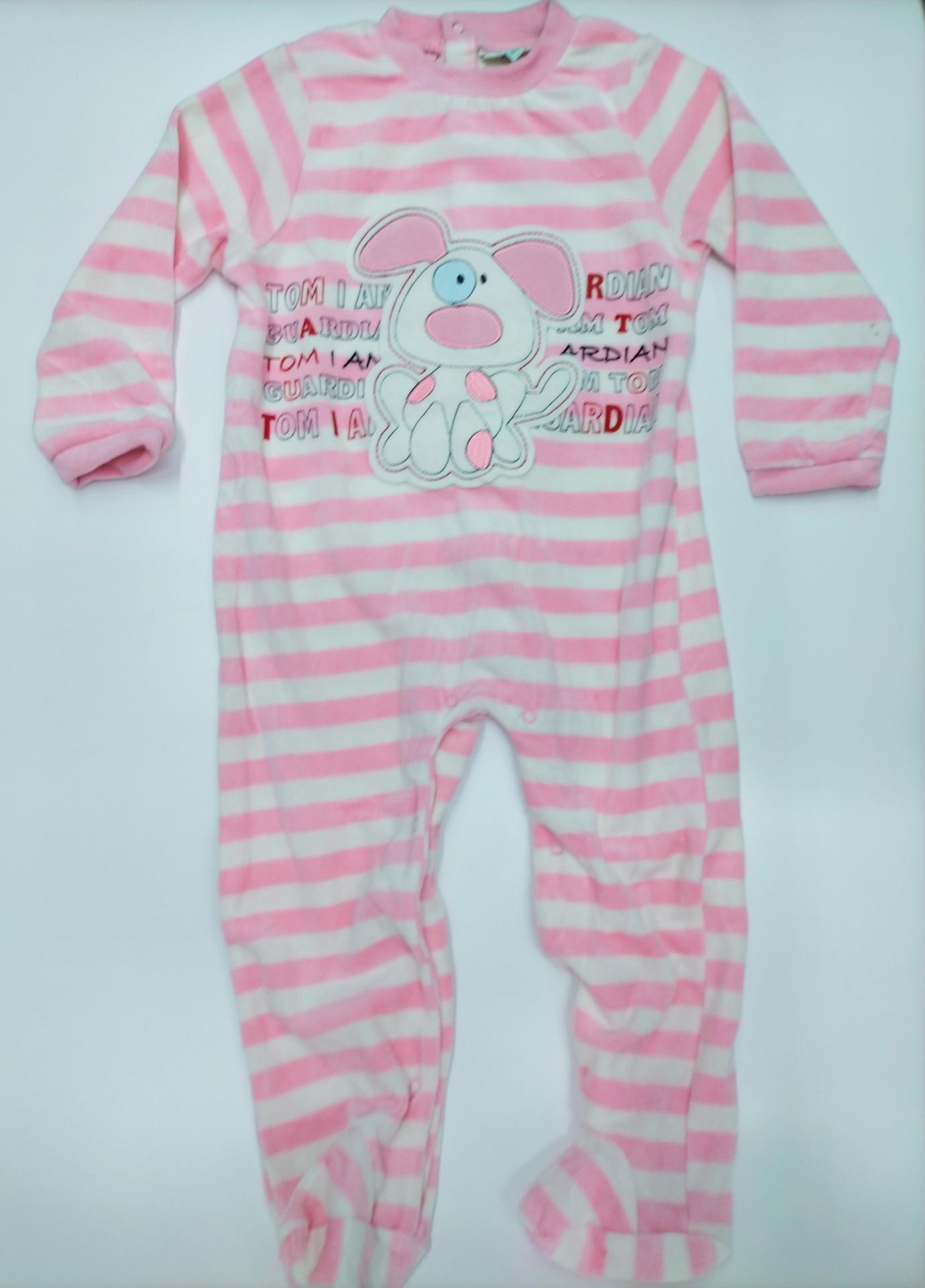 "Pijama bebé  rosa de rayas  "" Perro"" de Yatsi."