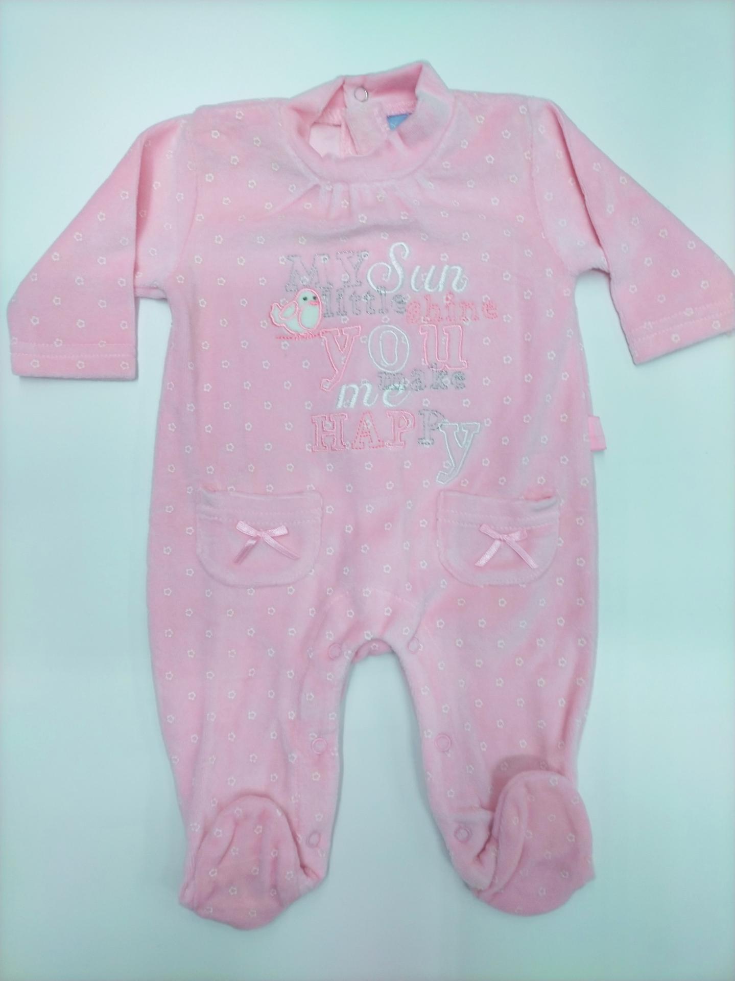 """Pijama bebé rosa """"Pajarito"""" de Yatsi."""