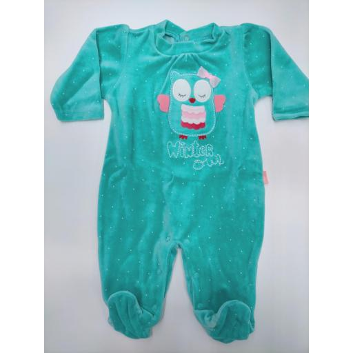 "Pijama bebé turquesa ""Búho"" de Yatsi."