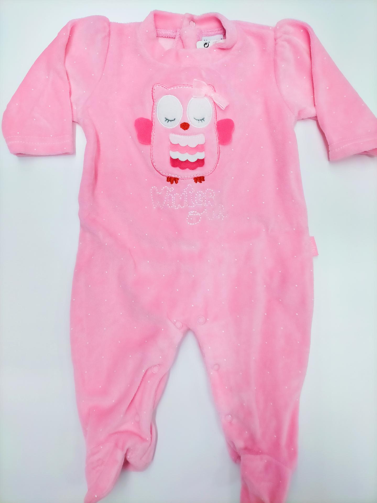 "Pijama bebé rosa ""Búho"" de Yatsi."