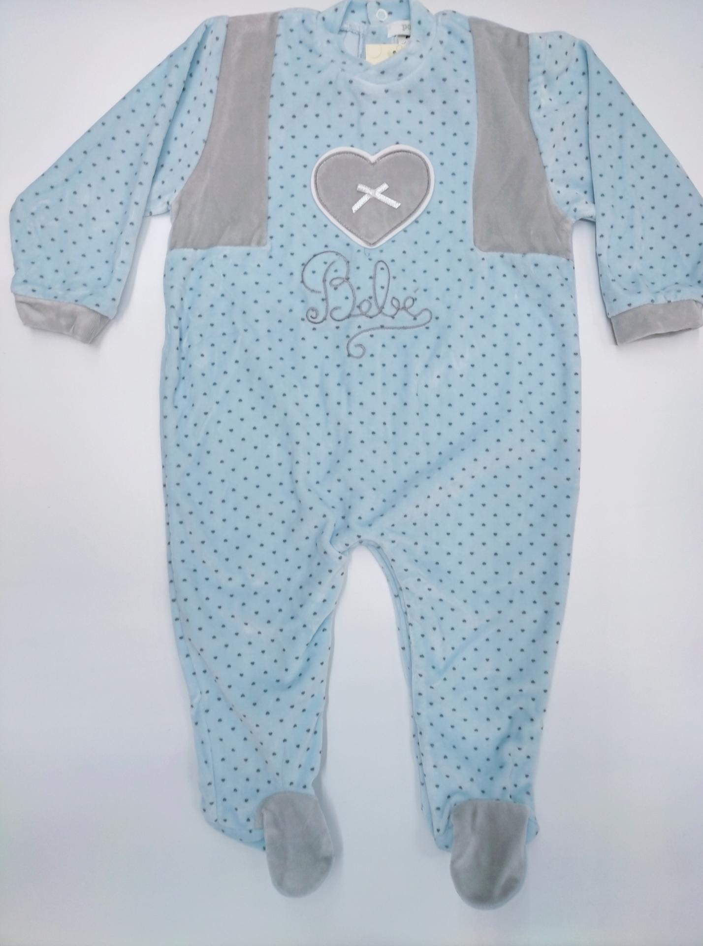 Pijama bebé  topos gris de POPYS.