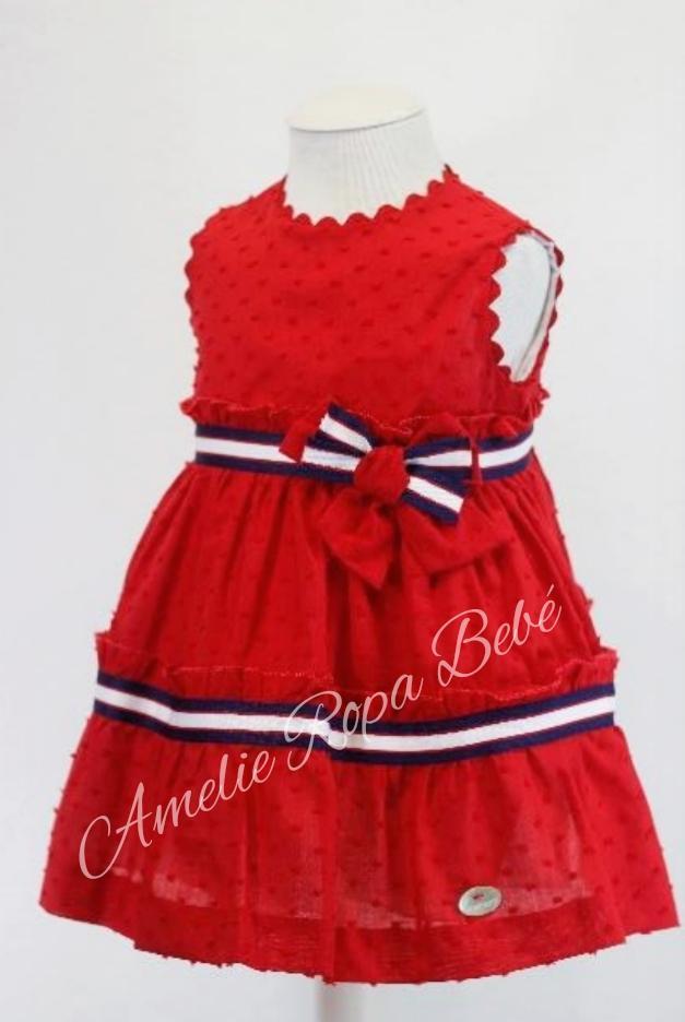 Vestido niña  rojo  de plumeti  de Basmartí.