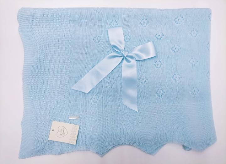 Toquilla de perlé Rombos  en Azul de Prim Baby.