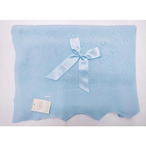Toquilla de perlé Rombos  en Azul de Prim Baby. [0]