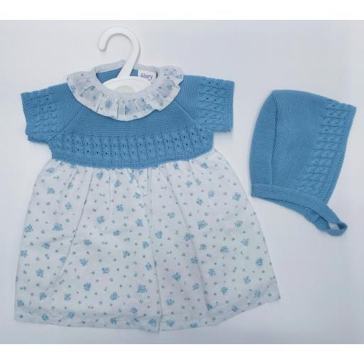 Vestido bebé con capota en azulin de Glory Bebé.