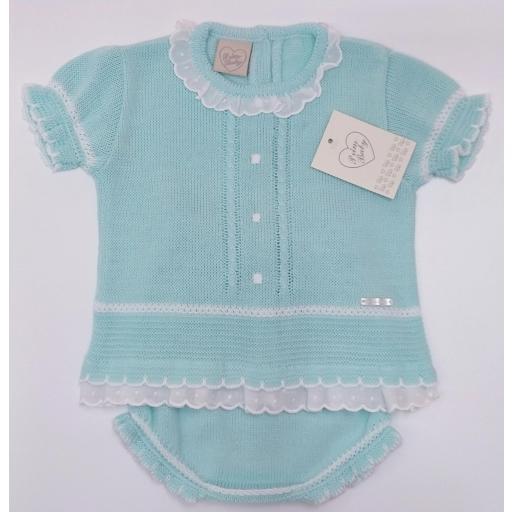 Jersey bebé manga corta  con ranita en Verde Agua de Prim Baby. [1]