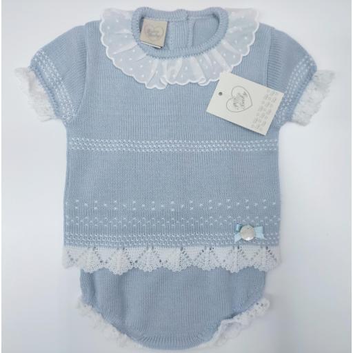 Jersey bebé manga corta  con ranita  Azul de Prim Baby.