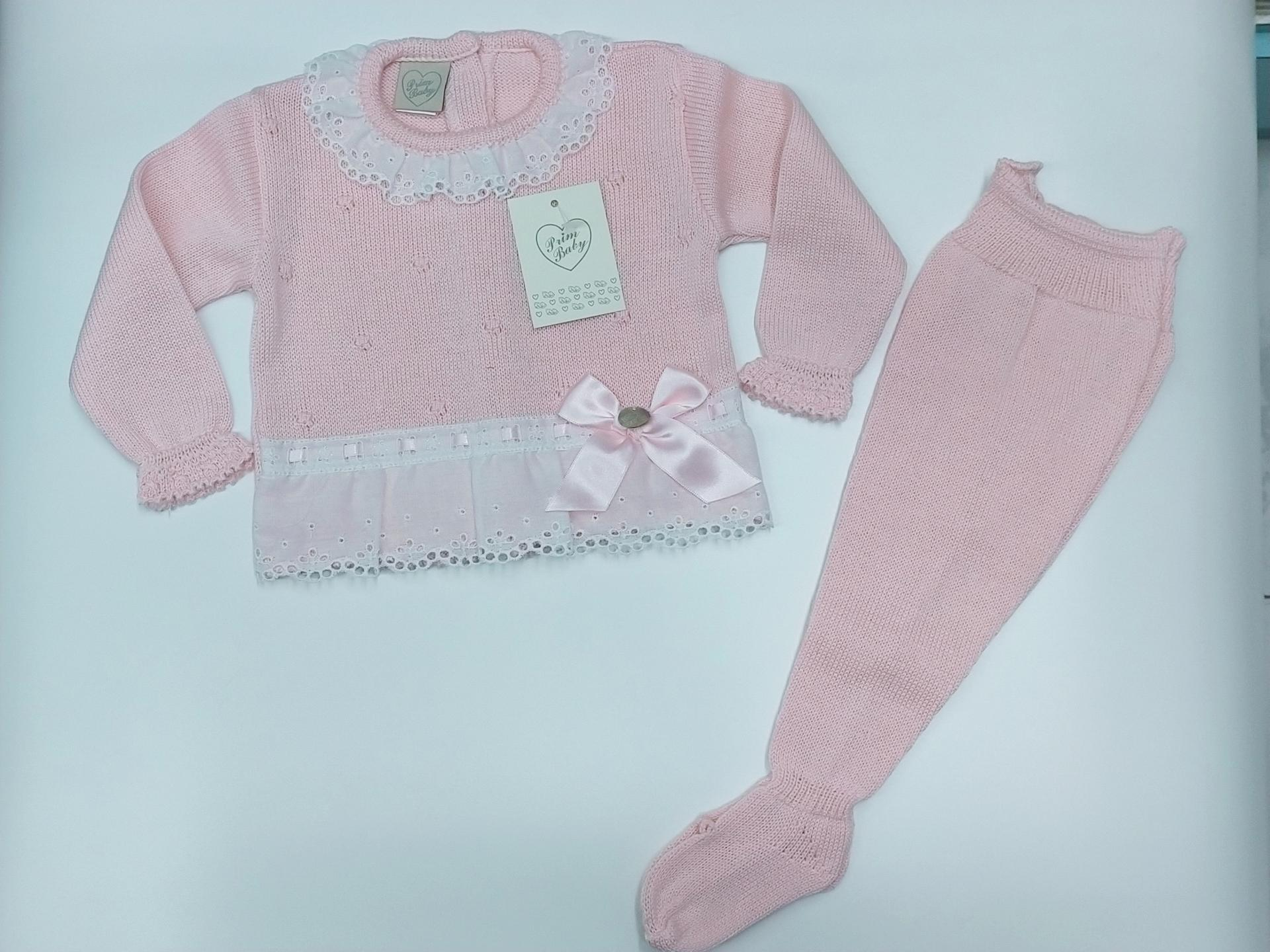 Jersey bebé perlé  con polaina  Rosa de Prim Baby.